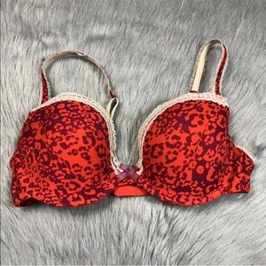 Kensie animal print red bra 36D